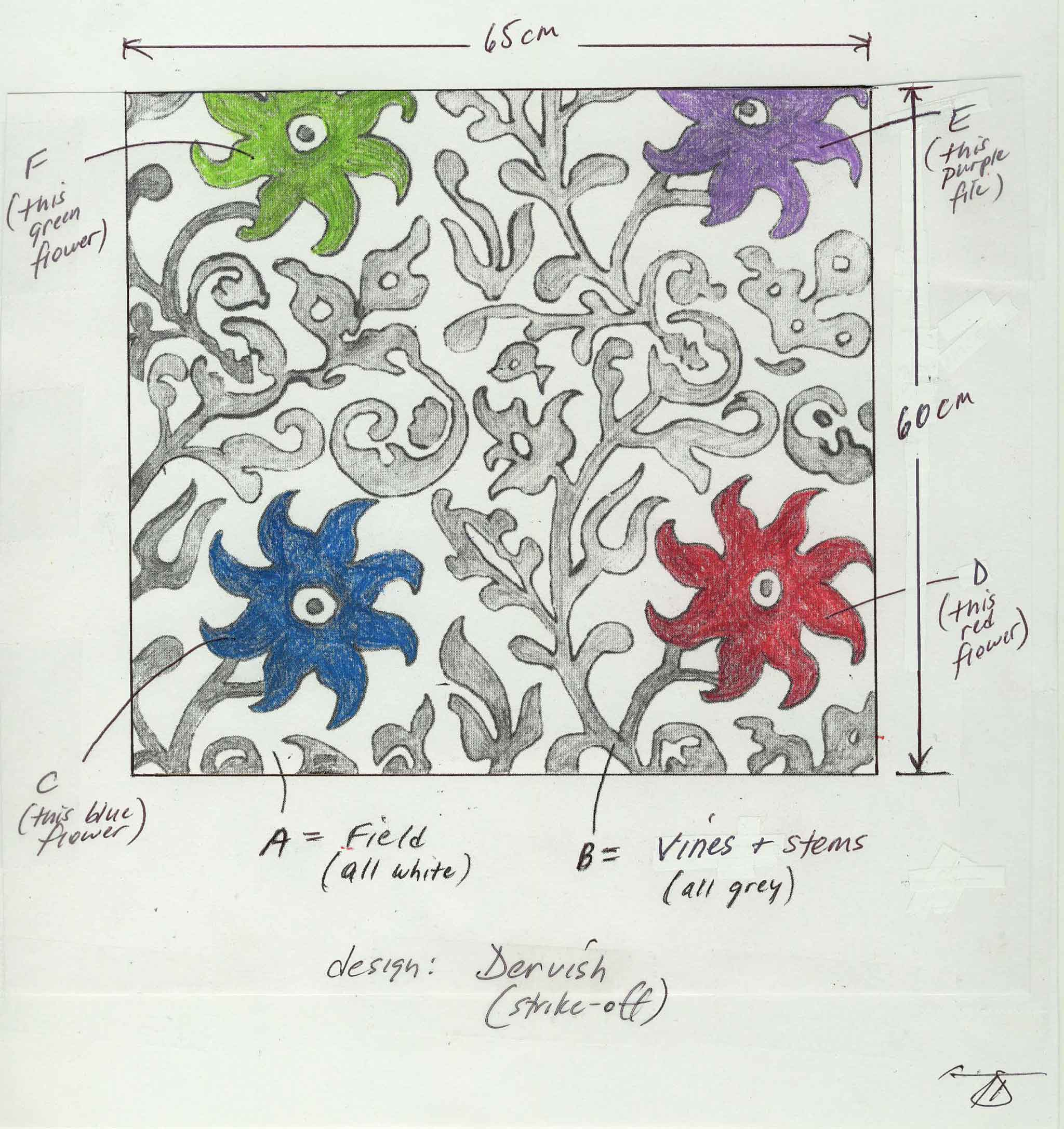 Original Artwork for a custom strike-off of the Kooches Carpet 'Dervish' by Tom DeMarco | Image courtesy of Kooches