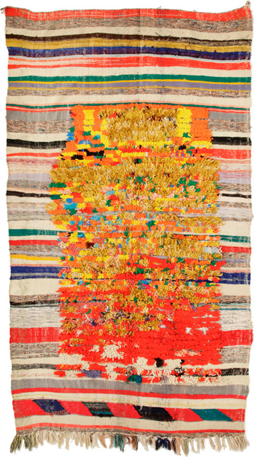 Boucherouite, Anti Atlas, Morocco, circa 1970, 216 x 153 cm. Pile in wool and industrial fibres on a flatwoven wool and lurex background. Private collection, New York. | Image courtesy of Alberto Levi