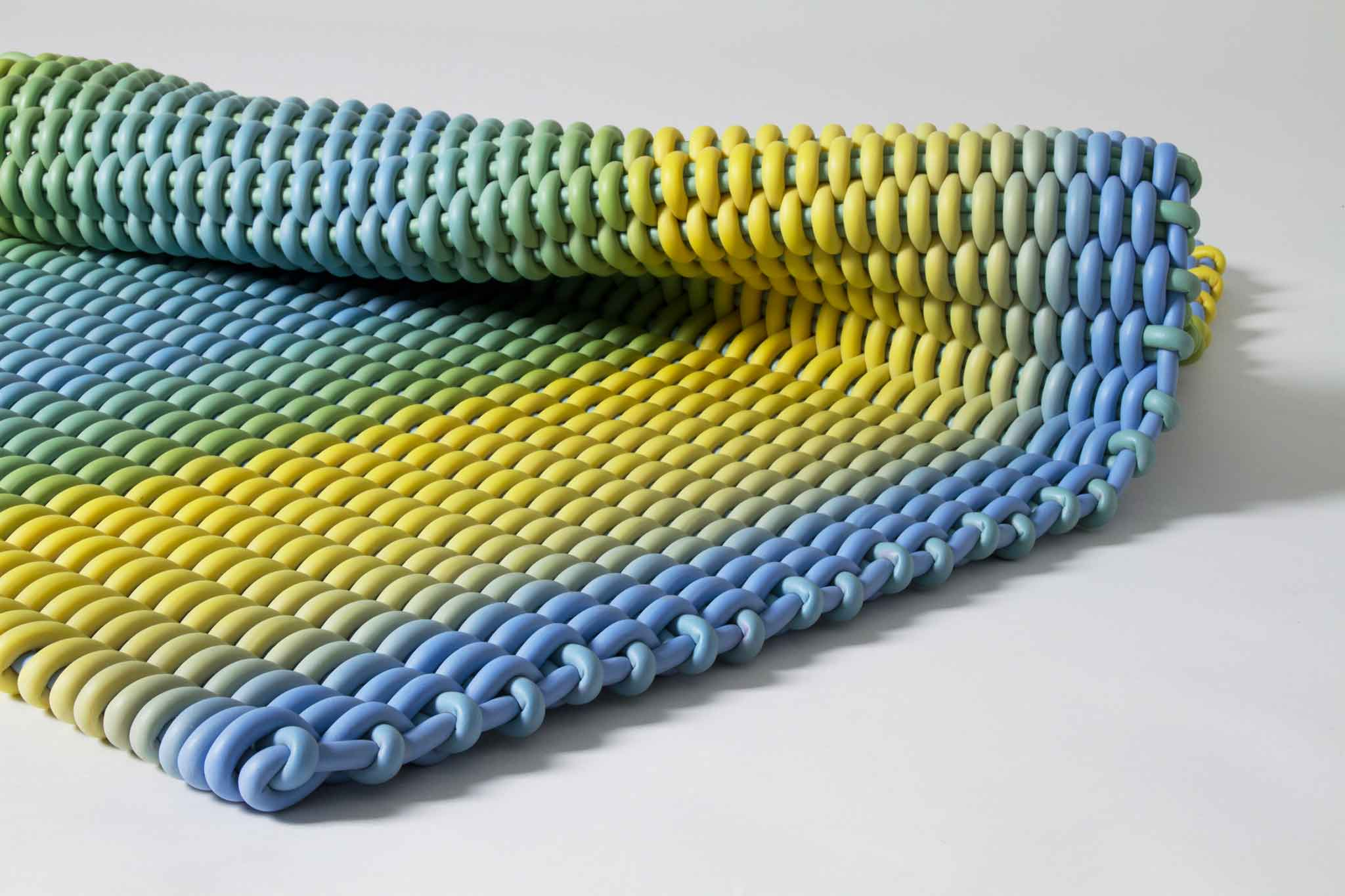 'Lemon Grass' plain weave Silicone Cord by Shore Rugs | Image courtesy of Shore Rugs