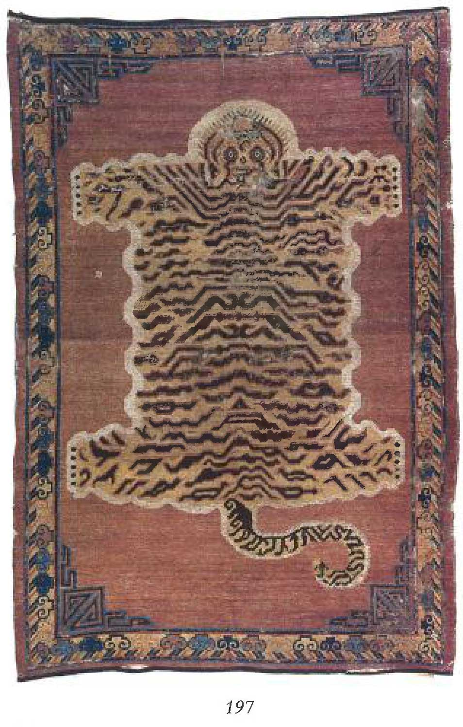 A Khotan Tiger Rug - Lot 197 - Christie's Bernheimer Auction | Please excuse the image quality. | Image courtesy of Christie's