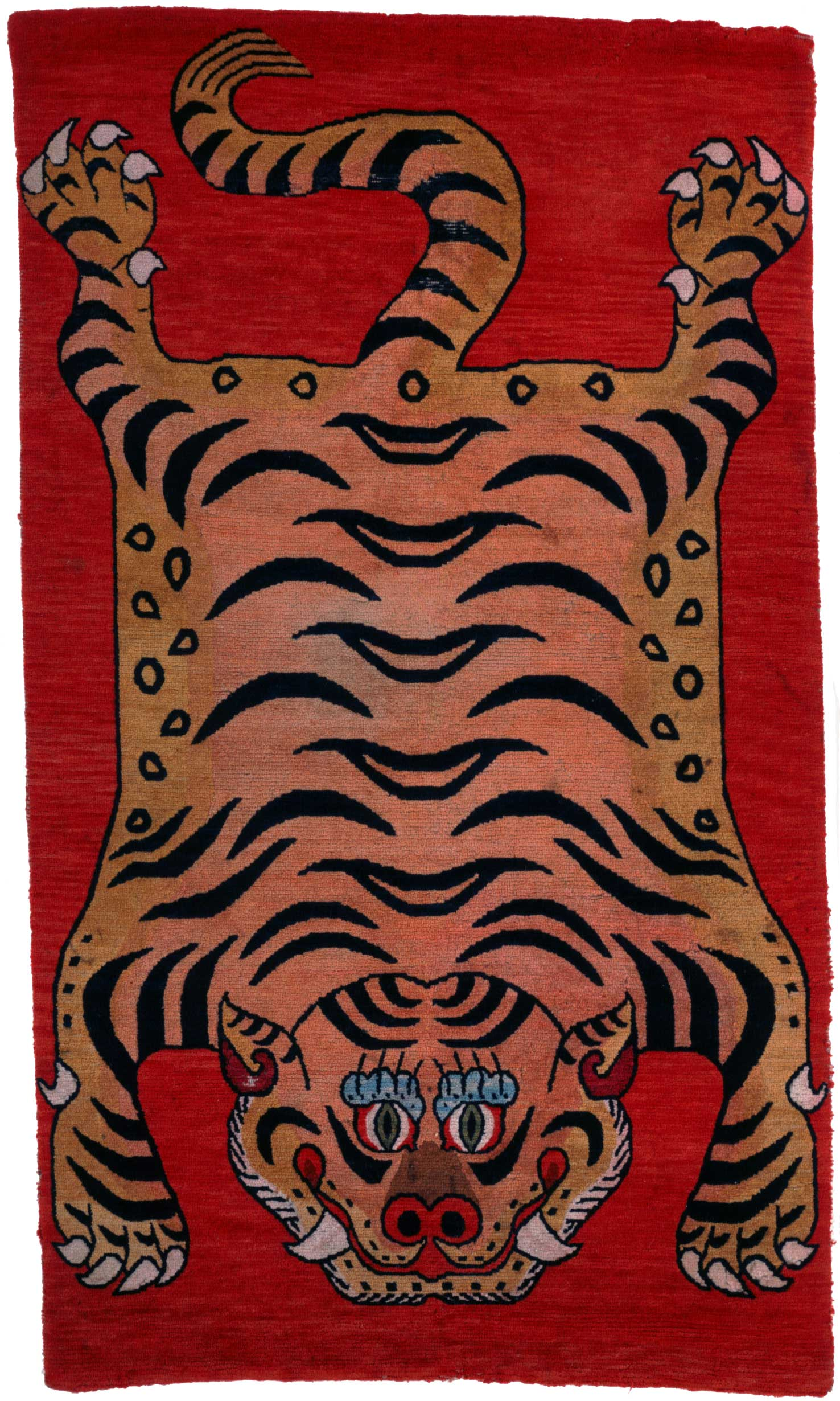 19th Century Tibetan Tiger Rug - Wool and Cotton - Purchase 1976 Charles W. Engelhard Bequest Fund - Collection of the Newark Museum | Image courtesy of the Newark Museum.
