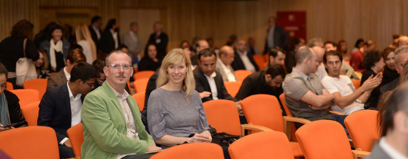 Michael Christie of The Ruggist, of course, and Birgit Krah of Reuber Henning, natürlich, awaiting the start of the Istanbul International Carpet Conference along with other attendees. Reza Ashtari of Ashtari Carpets can be seen far right. | Image courtesy of Istanbul Carpet Week.