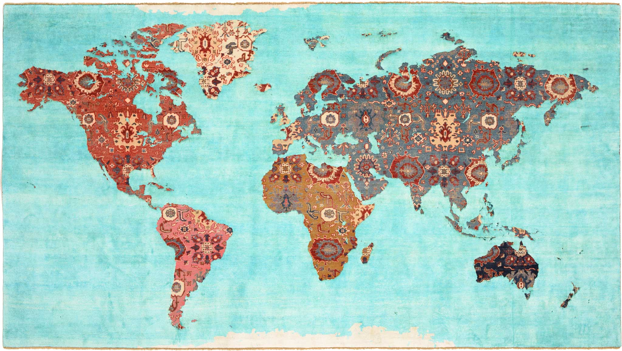 'World Map' by Jan Kath. Created as a carpet novelty in the style of the firm's 'Erased Heritage' Collection. | Image courtesy of Jan Kath.