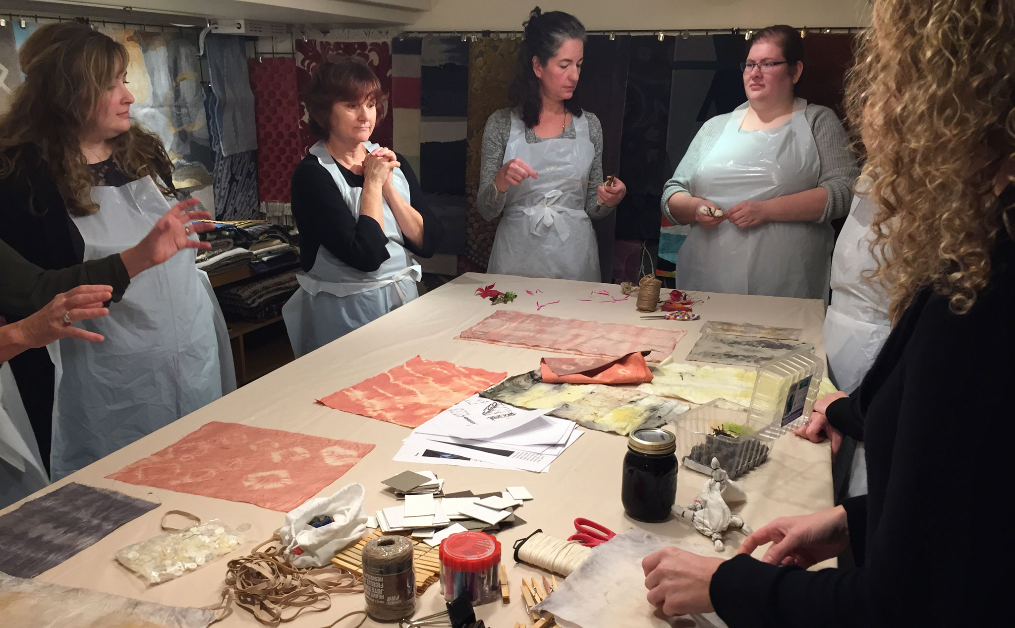Anxious anticipation as Kat Pezzano (right) explains the process for the Natural Dyes Art Day at Creative Matters on 7 November, 2016. | Image by The Ruggist.