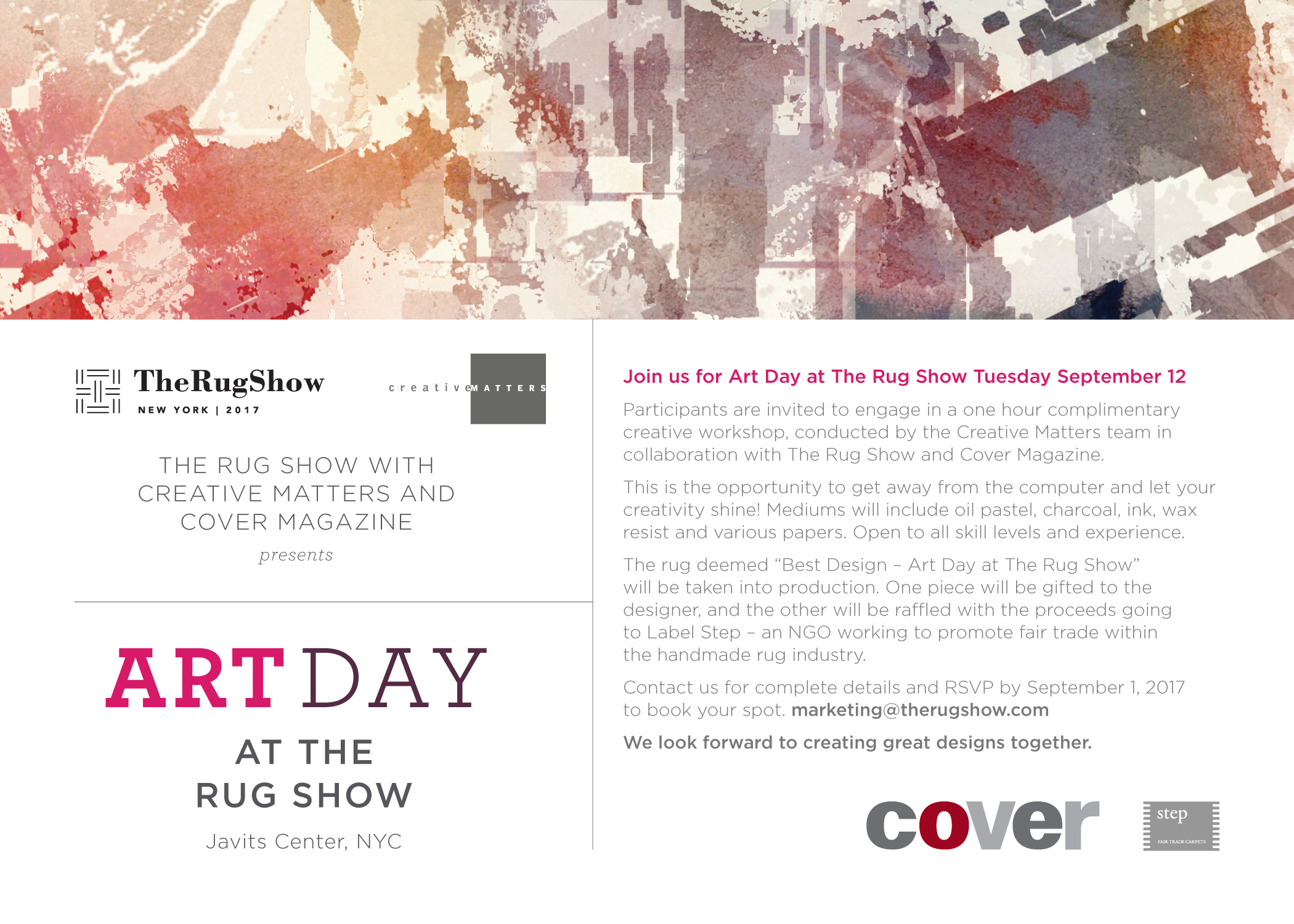 Creative Matters is hosting a special edition of their 'Art Day' during The Rug Show in conjunction with COVER Magazine and Label STEP. | Image courtesy of Creative Matters.