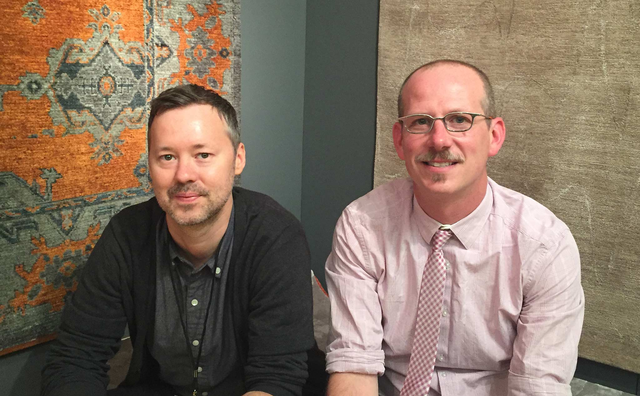 Nathan Tucker - Showroom Manager of AtelierLapchi Chicago, and Michael Christie - The Ruggist, Editor of Rug Insider shown at Lapchi during NYICS 2015.   Image courtesy of Rug Insider.