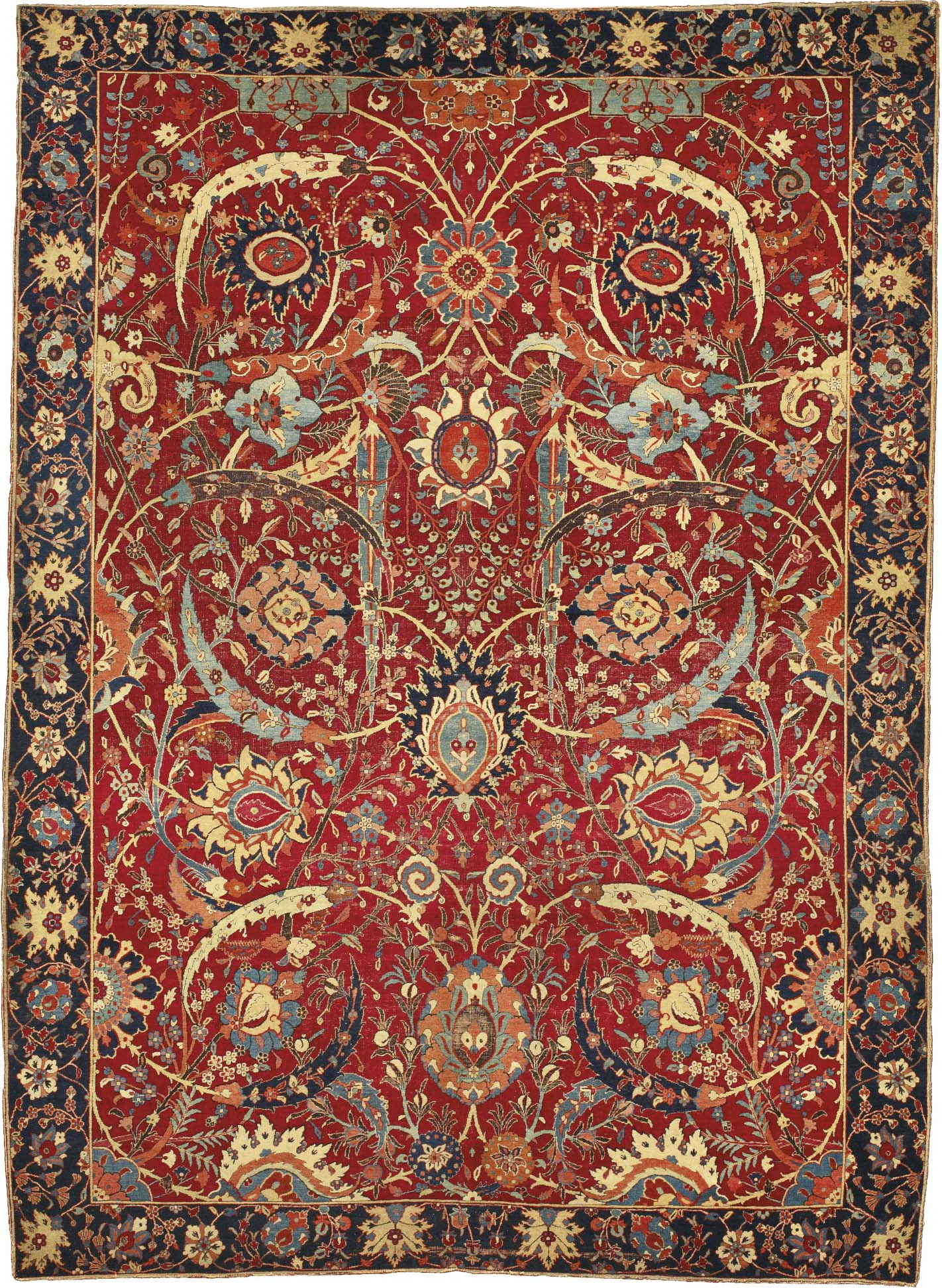 Auctioned by Sotheby's on 5 June 2013 as part of the 'Important Carpets from the William A. Clark Collection, Corcoran Gallery of Art' sale, the Clark Sickle-leaf Carpet far exceeded its estimate of $5,000,000 - $7,000,000 (USD) selling for $33,765,000 (USD) thus becoming the most valuable antique carpet in the world. Dating from the first half of the 17th century and noted as being of the 'vine scroll and palmette 'vase'-technique' the carpet probably originates from Kerman situated in the southeast of what is today modern-day Iran. It is also - for the layman - quintessentially Persian or Oriental in its aesthetic. | Image courtesy of Sotheby's.