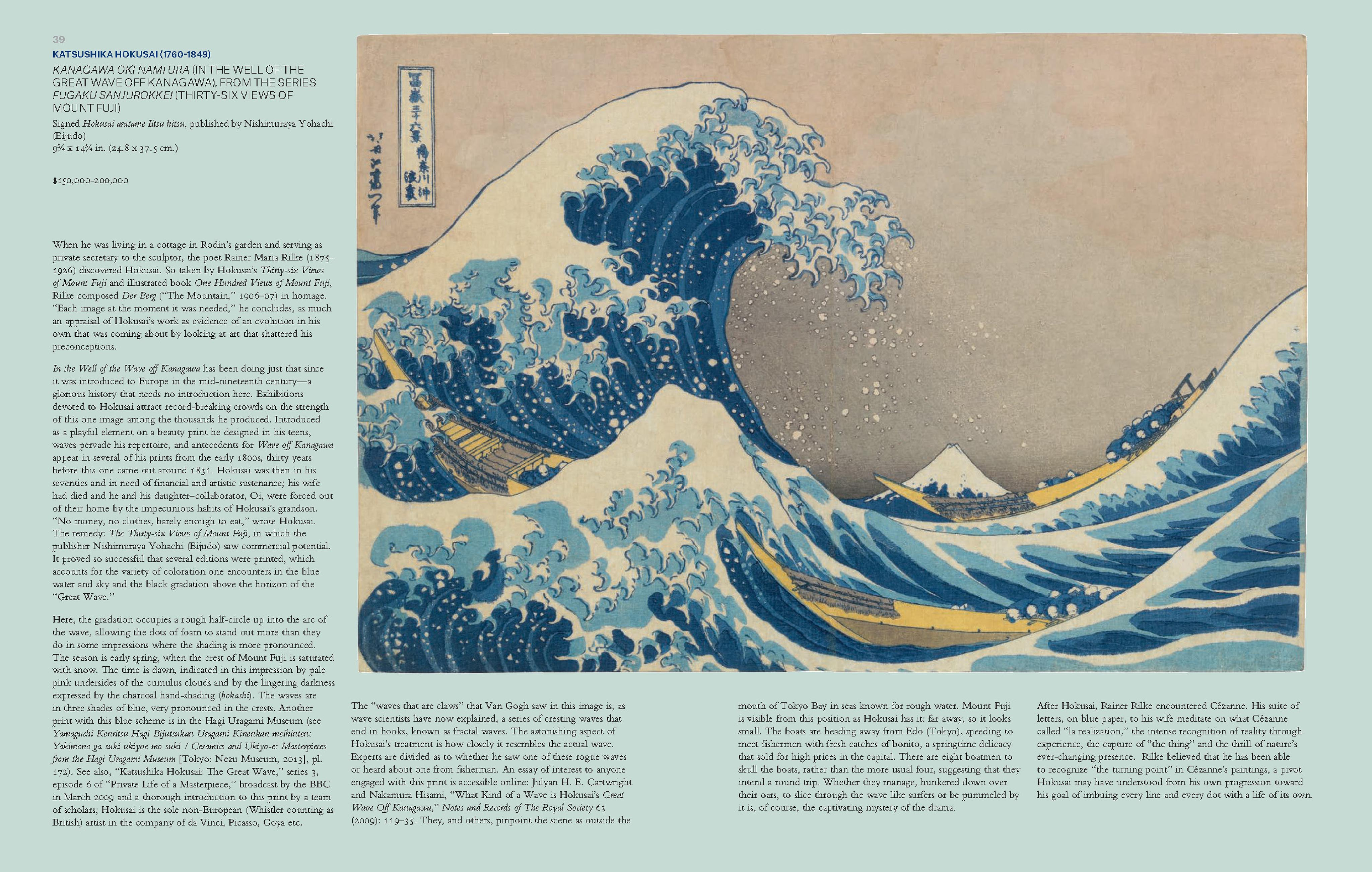 Kanagawa Oki Nami Ura (In the Well of the Great Wave Off Kanagawa) as shown on pages 39-40 of the catalog for the Christie's auction 'Japanese and Korean Art - 18 April 2018'. | Image from the catalog. Fair use by The Ruggist.