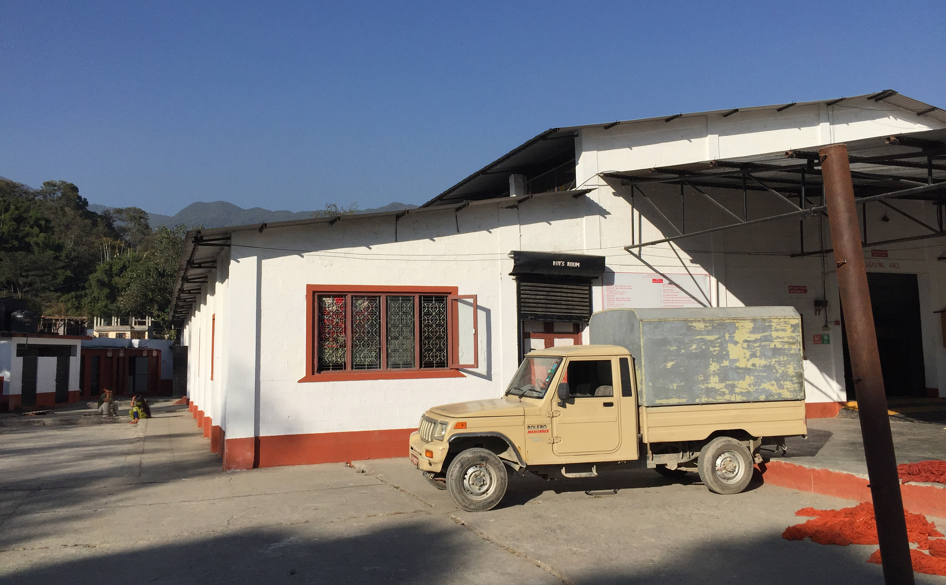 The manufactory of Jan Kath on the outskirts of Kathmandu, Nepal where the rugs for the 'Crossroads and Avenues' project are being made. | Image taken by The Ruggist while inspecting the facility in November 2016.
