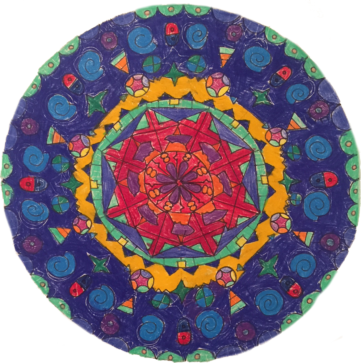 Sample artwork of a rug design for the Crossroads and Avenues Project. All designs for this inaugural collection of rugs are round recalling both the globe and a mandala signifying the connected nature of all humanity. | Image courtesy of Kyle and Kath.