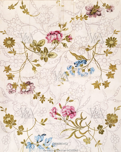 Textile design by Anna Maria Garthwaite for Spitalfields, London, England, circa 1742. | Image via the Victoria and Albert Museum.