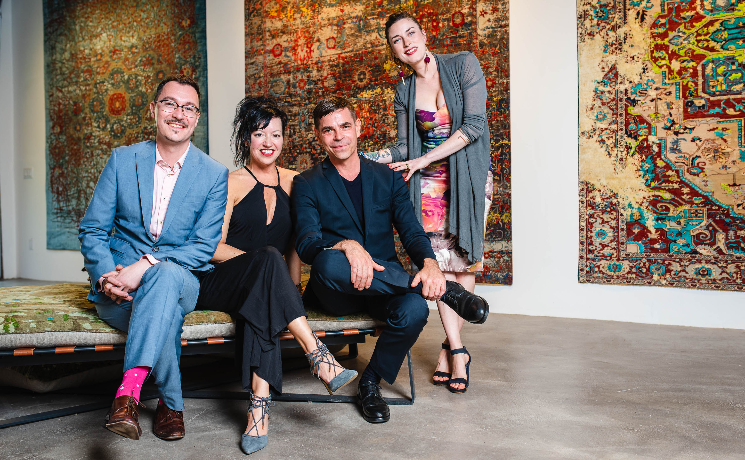 And this is why you hire a professional! Yvan Semenowycz, Jenni Finlay, Jan Kath, and Robyn Waffle (left ot right) shown properly poised in the official photograph shot by photographer Nancy Kim just as the opening party for Finlay and Kath's new Jan Kath Toronto showroom got underway on Thursday, 10 May 2018. | Image courtesy of Finlay and Kath.