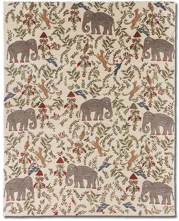 "Knockoff of ""Menagerie' by New Moon' as ordered by Sharon Schenck of Nola Rugs for her granddaughter. 