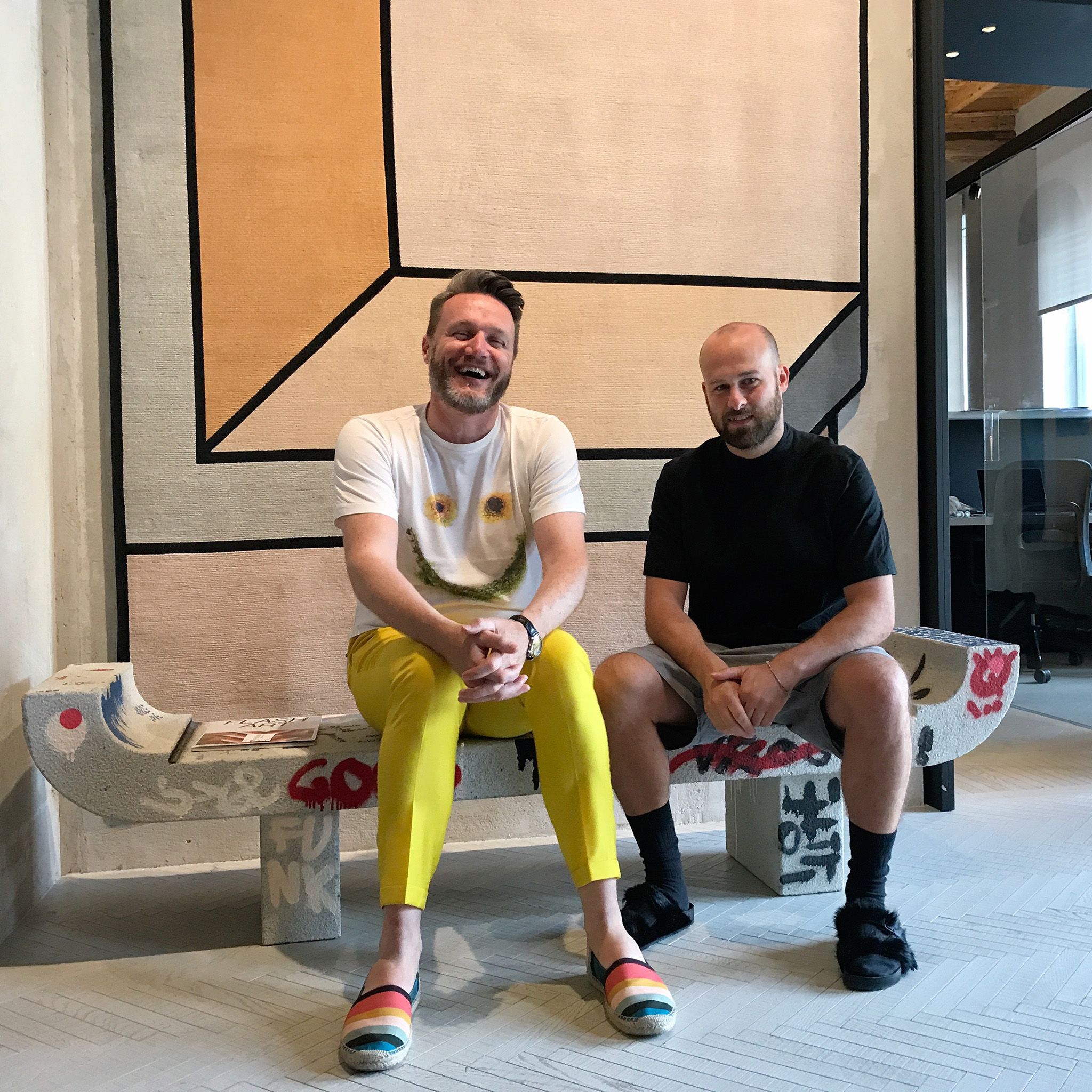 Fabrizio Cantoni (left), Managing Partner, cc-tapis; Daniele Lora, Artistic Director, cc-tapis; shown on 14 July 2018 in the foyer of their firm's offices at the Piazza Santo Stefano, Milan, Italy. | Photograph by The Ruggist.